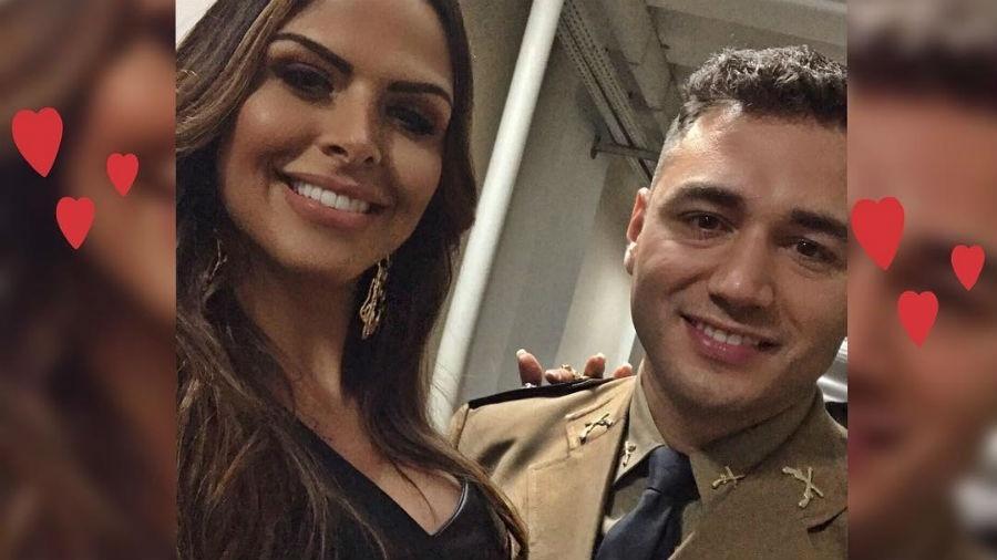 Silvye Alves com o noivo, que é tenente da Rotam em Goiás - Reprodução/Instagram