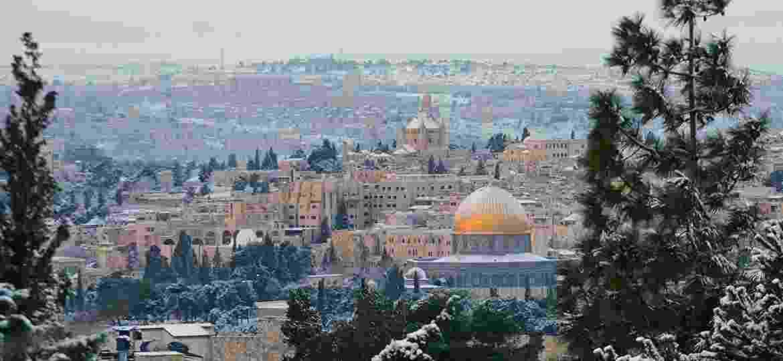 Jerusalém, em Israel, sob a neve - Getty Images/iStockphoto