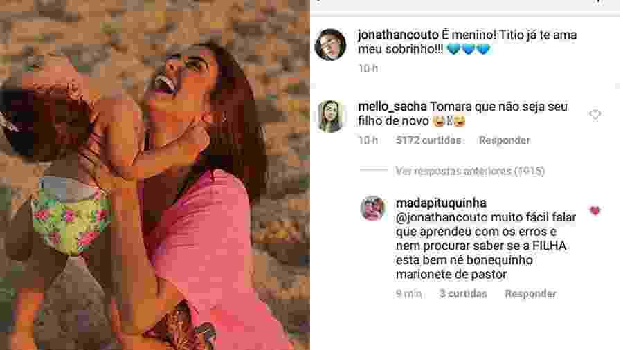 Leticia Almeida apagou comentário feito pela mãe dela no Instagram de Jonathan Couto - Reprodução/Instagram