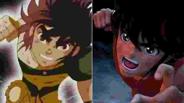 Seiya, protagonista de Os Cavaleiros do Zodíaco, em 2D e computação gráfica - Montagem/UOL/Reprodução/YouTube/Netflix