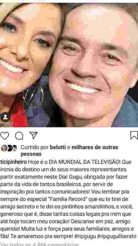 O post que Ticiane Pinheiro tinha feito antes e que foi muito criticada - Reprodução/Instagram