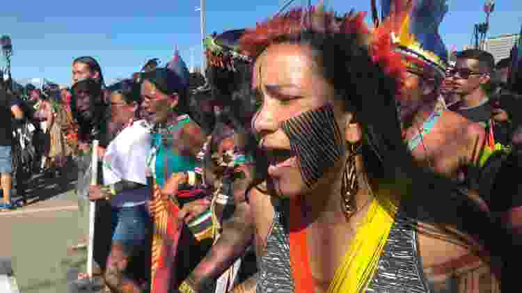 Mulheres indígenas desempenharam um papel relevante nos protestos durante o Acampamento Terra Livre em 2019, em Brasília - Karla Mendes/Mongabay - Karla Mendes/Mongabay