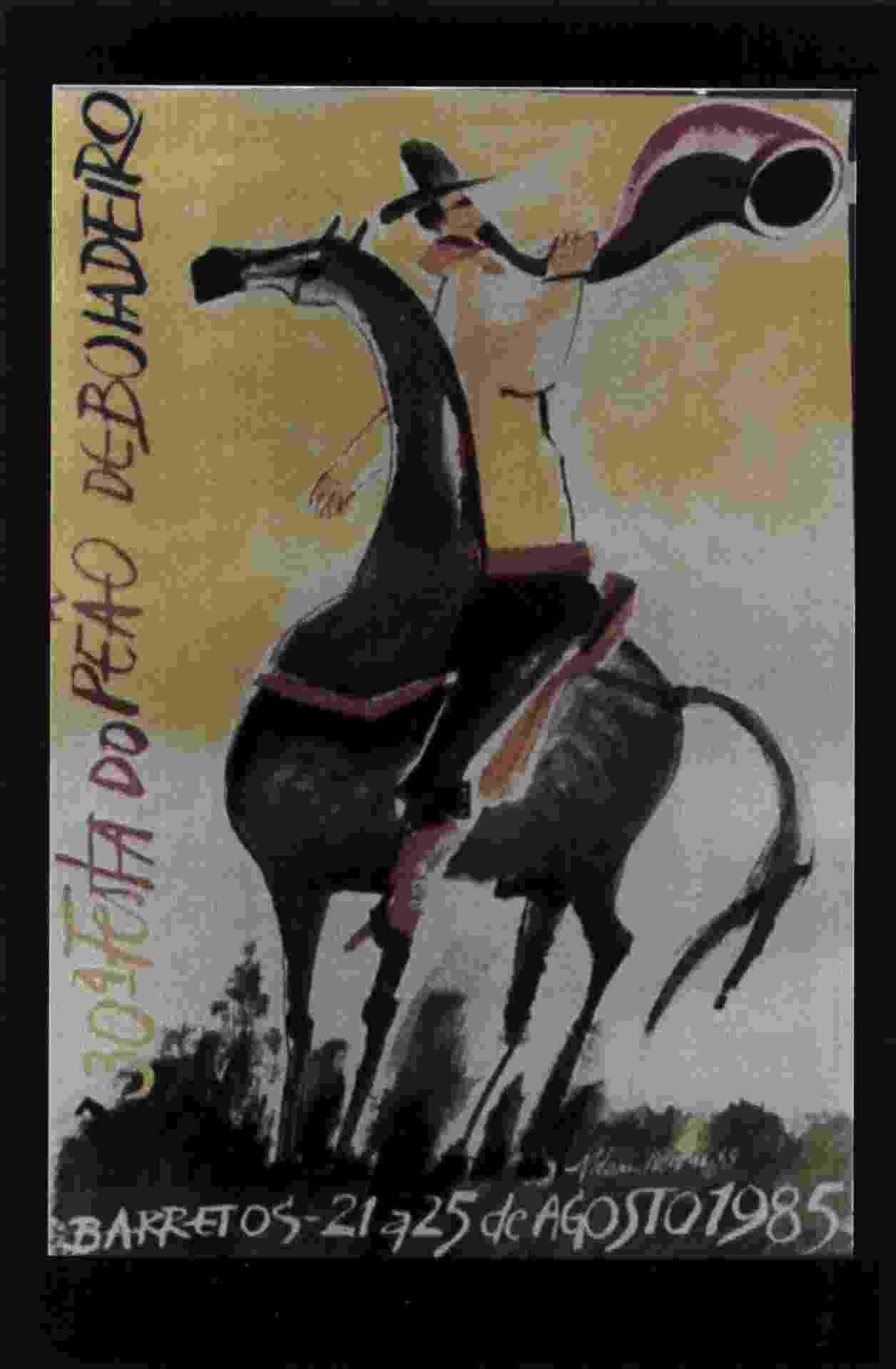 Em 1985, o pintor cearense Aldemir Martins inaugurou a tradição de artistas desenhando o cartaz da Festa do Peão de Barretos - Reprodução