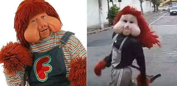 Fofão, personagem de Orival Pessini (à esquerda), e o genérico da Carreta Furacão - Montagem/UOL