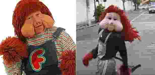 Fofão, personagem de Orival Pessini (à esquerda) e seu genérico da Carreta Furacão - Montagem/UOL