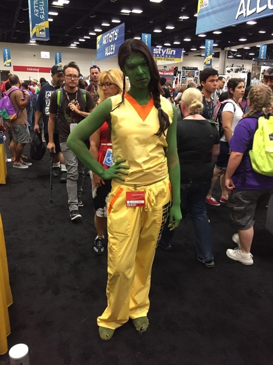 21.jul.2016 - Jovem reproduz visual da personagem Gamora, de