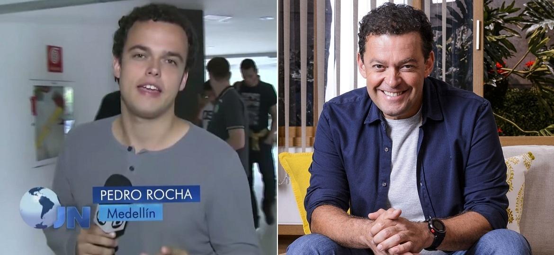 """Montagem com Pedro Rocha no """"JN"""" e o pai dele, Fernando Rocha, apresentador do """"Bem Estar"""", da Globo - Montagem/UOL"""