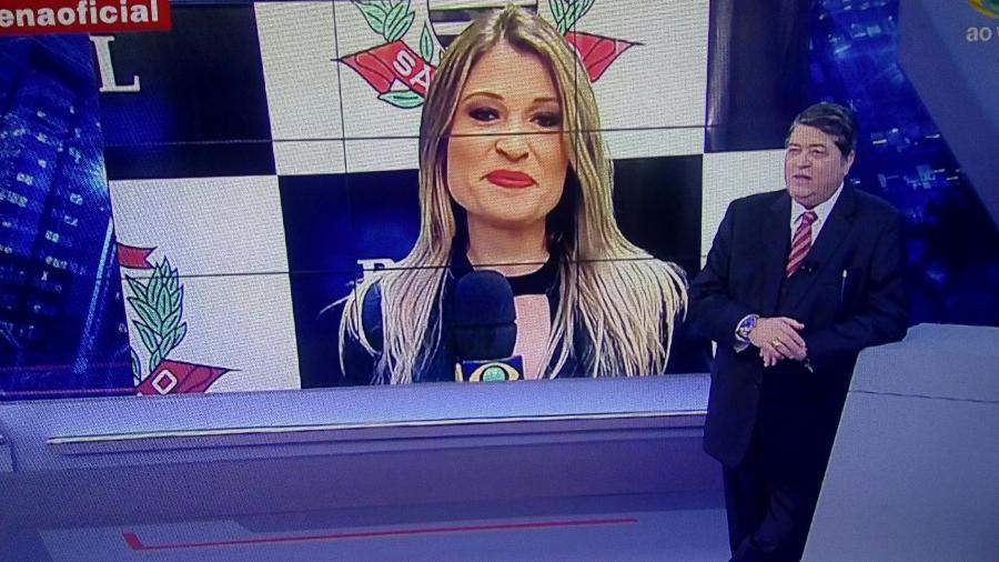 """José Luiz Datena e Bruna Drews no """"Brasil Urgente"""" - Reprodução/Band"""