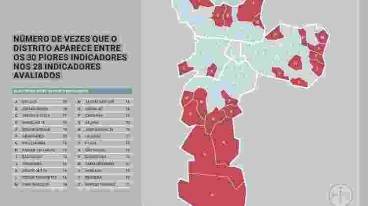 Mapa da desigualdade - Reprodução/Rede Nossa São PAulo - Reprodução/Rede Nossa São PAulo