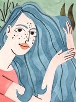 Ilustração de uma personagem representando o signo de Aquário. Vestida com camisa na cor vermelha, a personagem possui forma humana, enquadramento de busto e está posicionada de lado. Possui longos cabelos azuis. O fundo da imagem é verde água, com plantas e algas marinhas.