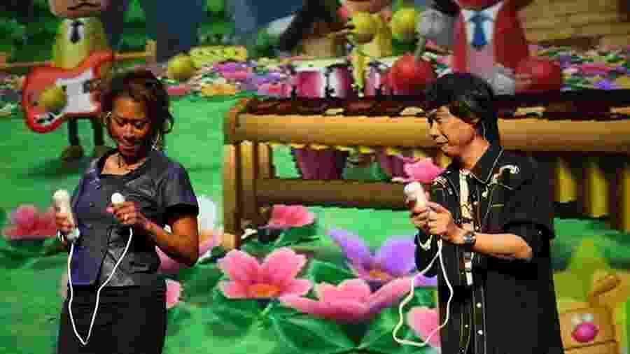 """Denise Kaigler (Nintendo of America) e Shigeru Miyamoto apresentam """"Wii Music"""" na E3 2008 - Renato Bueno"""