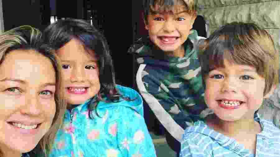"""A atriz Luana Piovani com os filhos Dom, Bem e Liz: """"Não tem manual para ser mãe"""" - Arquivo pessoal"""