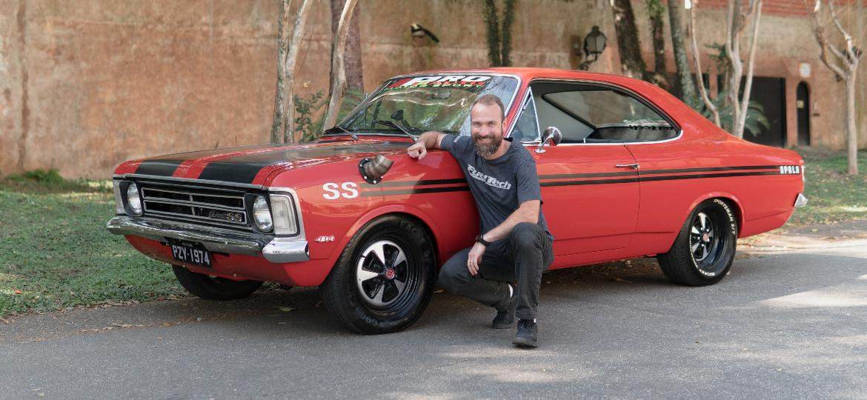 Morador de Atlanta (EUA), Anderson Dick, fundador da FuelTech, será guardião de Opala 4.1 SS Coupé 1974 em solo norte-americano; carro ganhou preparação de corrida de arrancada - Arquivo pessoal