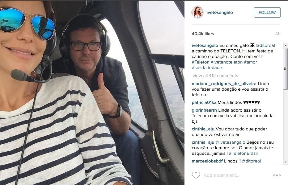 23.out.2015 - Ivete Sangalo usa helicóptero para chegar ao SBT, em São Paulo, para a apresentação do Teleton 2015