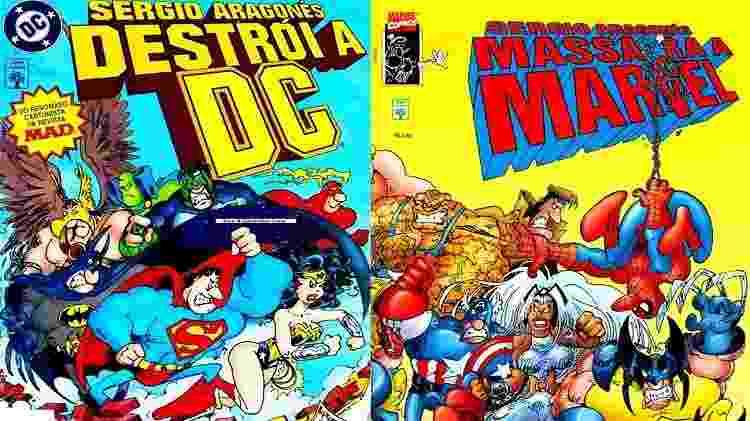 """Versões nacionais das HQs """"Sergio Aragonés Destrói a DC"""" e """"Sergio Aragonés Massacra a Marvel""""  - Reprodução - Reprodução"""