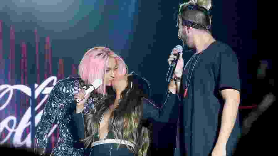 Pabllo Vittar beija Simone durante show em São Paulo - Manuela Scarpa/Brazil News