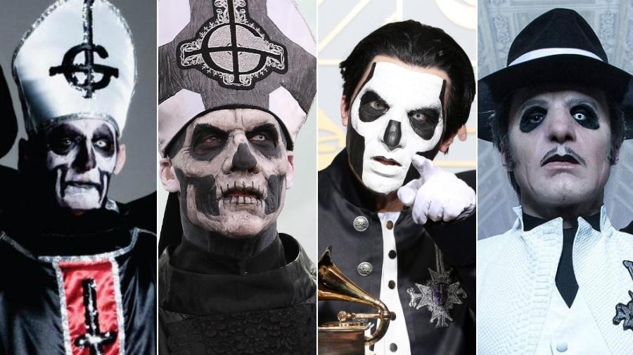 A evolução do Ghost, com os Papas Emeritus I, II e III e o atual Cardinal Copia - Divulgação e Getty Images