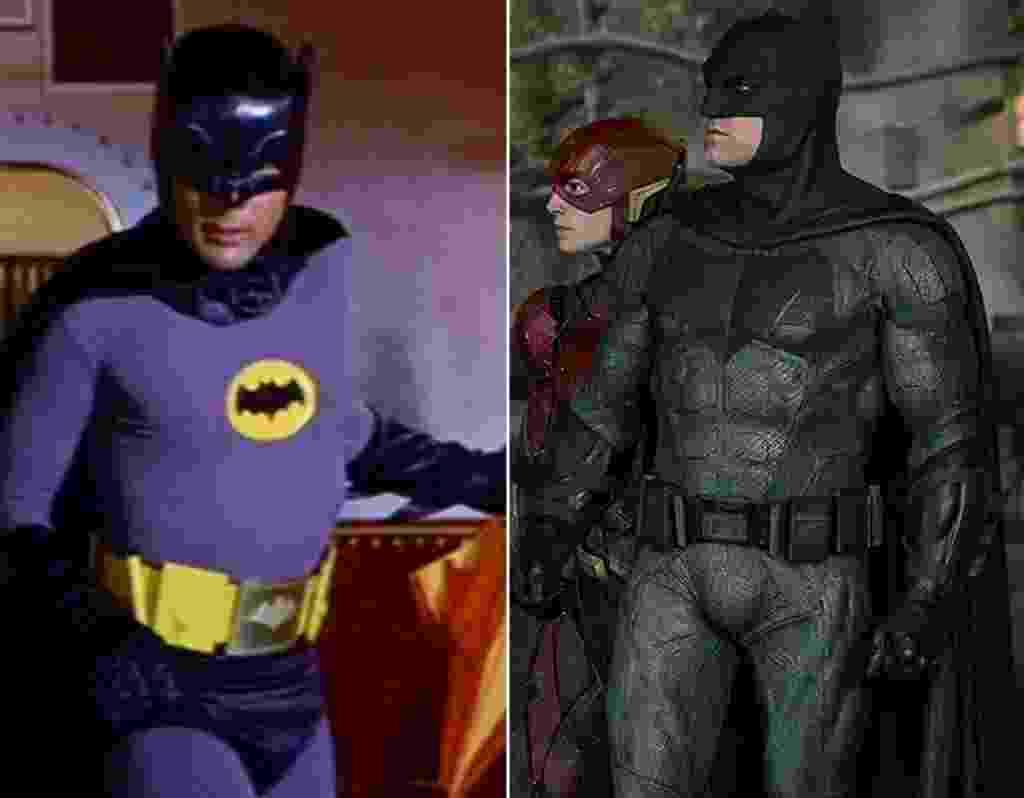 """À esquerda, Adam West em cena """"Batman - O Homem Morcego"""" (1966). À direita, Ben Affleck interpreta o super-herói em """"Liga da Justiça"""" (2017) - Divulgação"""