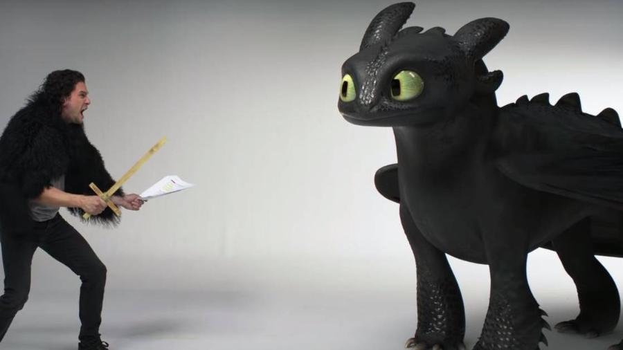 """Kit Harington encontra Banguela em vídeo de """"Como Treinar o Seu Dragão 3"""" - Reprodução/YouTube"""