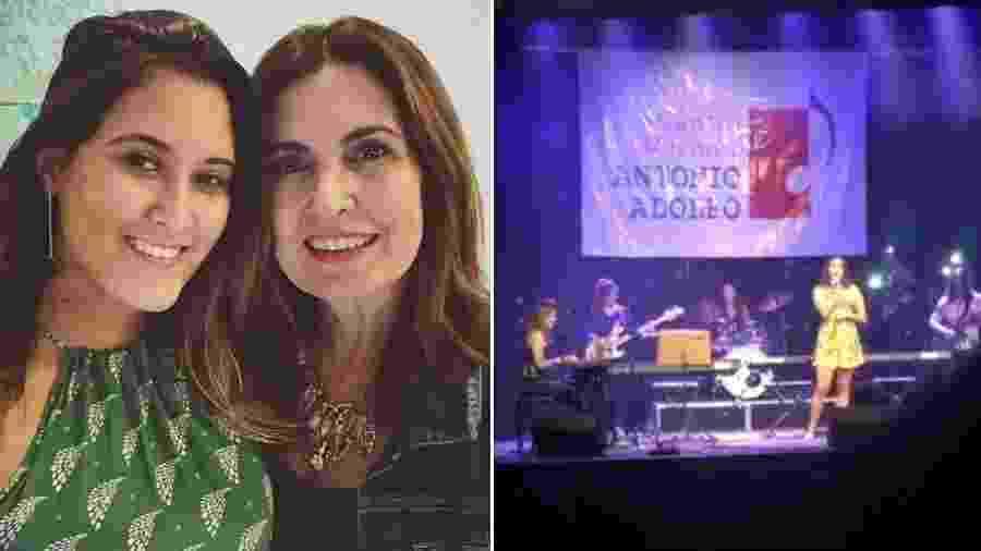 Fátima Bernardes ao lado da filha Beatriz e a jovem cantando em um evento - Reprodução/Instagram