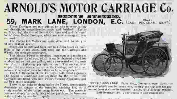 1896 Arnold Benz Motor Carriage primeiro carro multado por excesso de velocidade - Reprodução - Reprodução