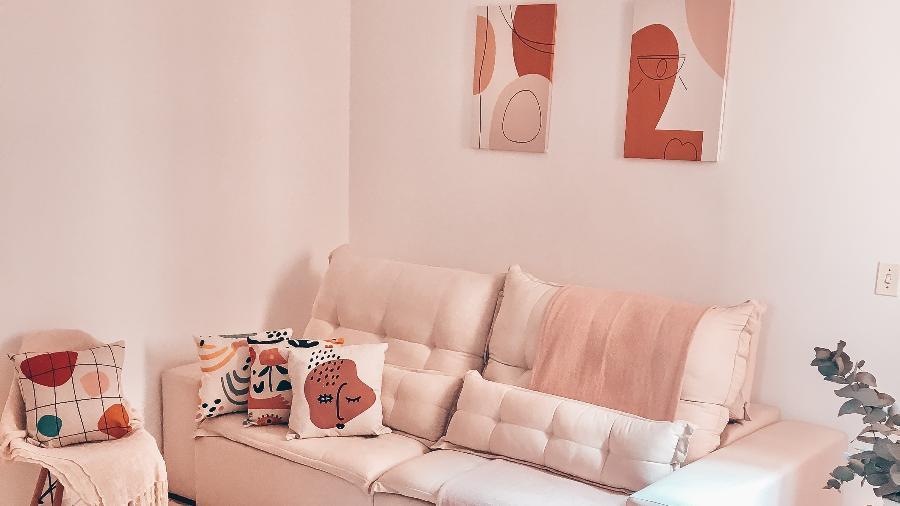 Rosa claro marca a decoração do apartamento de Dayane Martins - Arquivo Pessoal