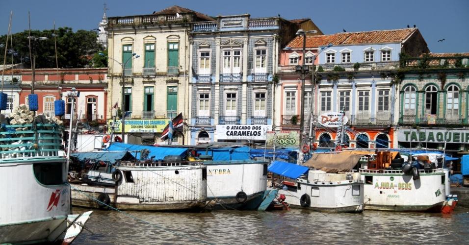 Vista da região do mercado Ver-o-Peso, em Belém
