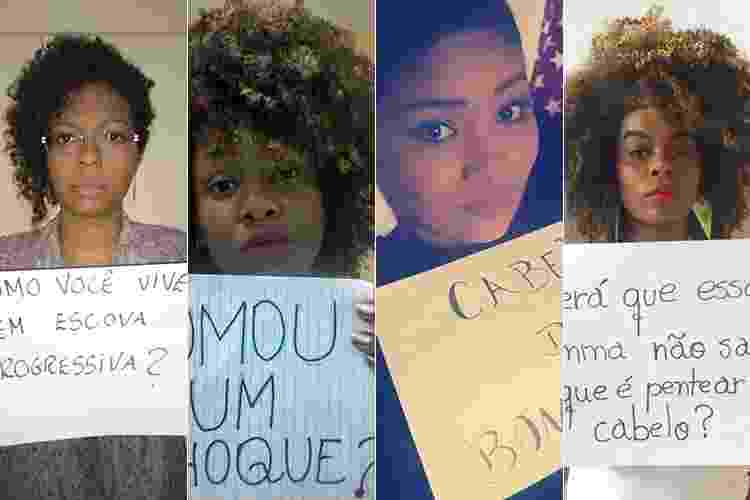 Mulheres mostram as ofensas que já ouviram sobre cabelo crespo ou cacheado - Montagem/UOL