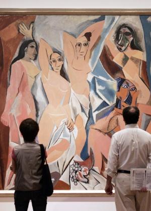 """A obra """"As Senhoritas de Avignon"""", de Pablo Picasso, exposta no MoMA - Stan Honda/AFP"""