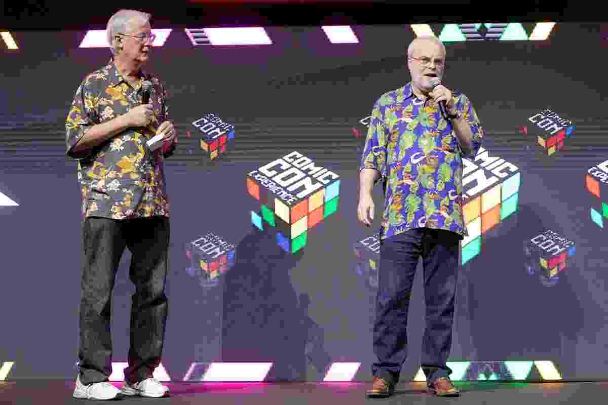 """3.dez.2016 - Diretores de """"Moana"""", John Musker e Ron Clemmentsm, durante exibição do filme pela primeira vez no Brasil, na CCXP - Reprodução/Twitter/WaltDisneyStudiosBR"""