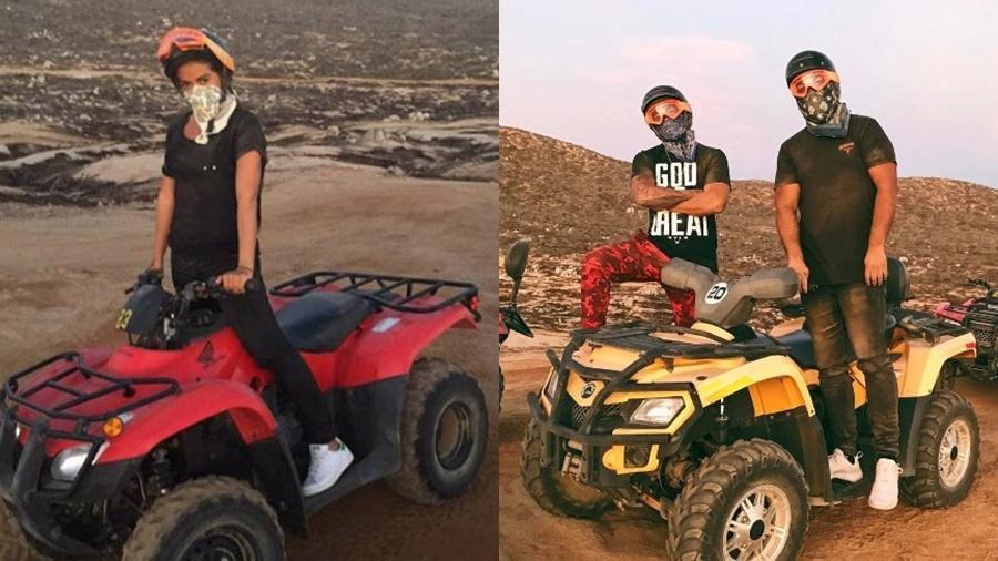 Anitta e Lewis Hamilton andaram de quadriciclo no México - Reprodução/Instagram e Montagem UOL