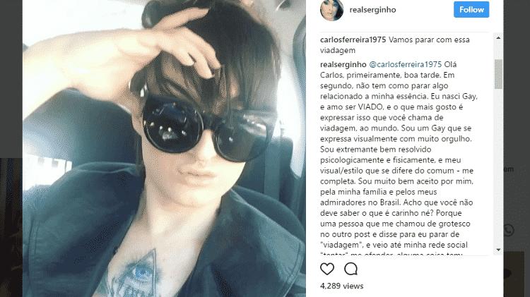 Ex-BBB Serginho rebate ataques homofóbicos: 'Nunca quis ser mulher' - Reprodução/Instagram - Reprodução/Instagram