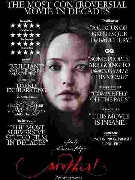 """Pôster do filme """"Mãe"""", que mostra o rosto de Jennifer Lawrence machucado - Divulgação"""