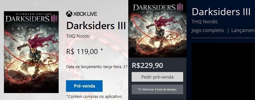 Darksiders III Pré-venda Xbox One vs PS4
