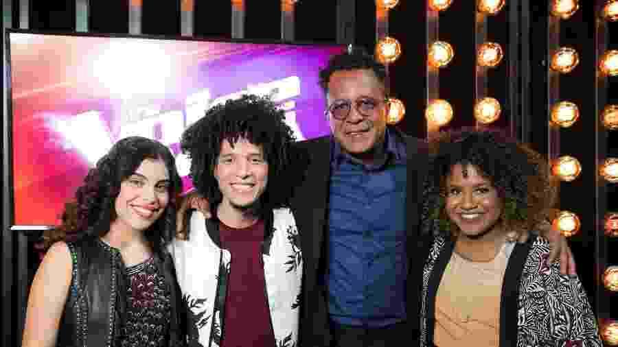 Lúcia Muniz, Willian Kessley, Tony Gordon e Ana Ruth, finalistas do The Voice Brasil  - Raquel Cunha TV Globo