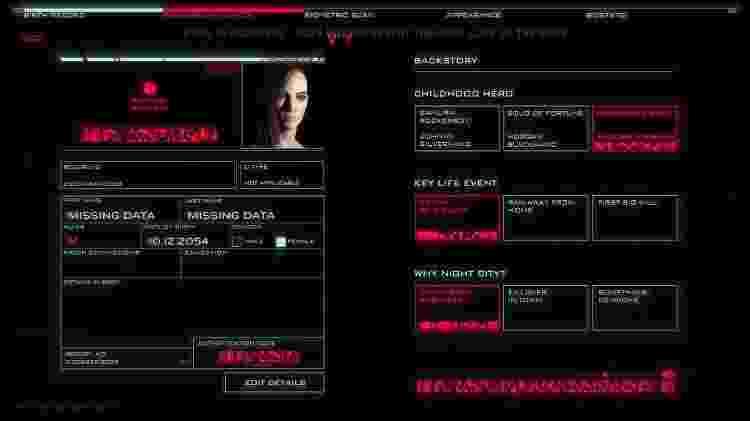 Cyberpunk 2077 Criador de Personagens 1 - Reprodução/Youtube/Cyberpunk 2077 - Reprodução/Youtube/Cyberpunk 2077