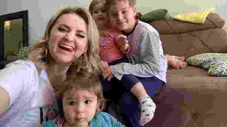 Gabriela com os filhos, Henrique, Liz e Helena - Acervo pessoal - Acervo pessoal