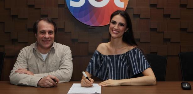 Diretor do SBT Fernando Pelegio e Chris Flores nesta sexta-feira - Cauana Fernandes/SBT