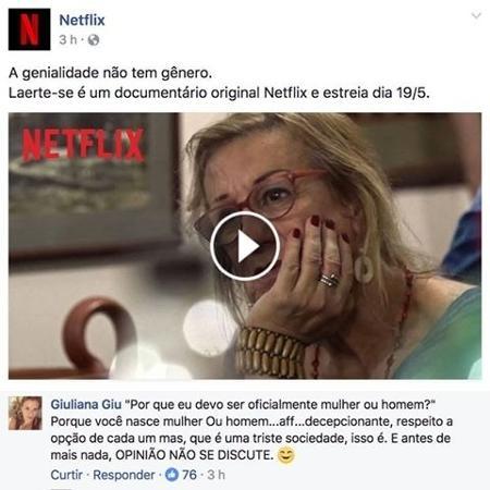Netflix respondeu comentário transfóbico em sua página no Facebook - Reprodução/Facebook