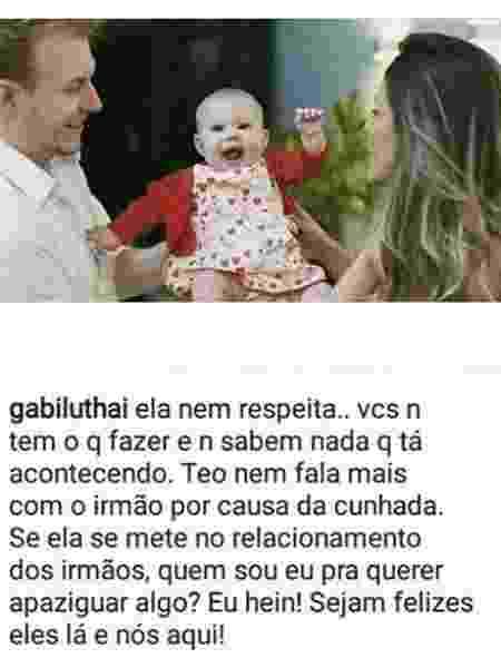Gabi Luthai, noiva de Teo Teló, diz que ele não fala mais com o irmão - Reprodução/Instagram - Reprodução/Instagram