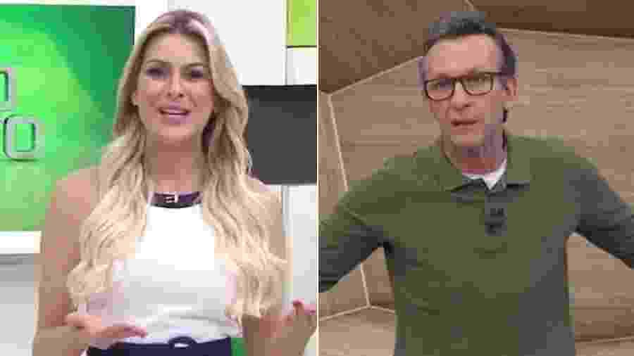 """Renata Fan, no """"Jogo Aberto"""", e Neto, em """"Os Donos da Bola"""", programas da Band - Montagem/UOL/Reprodução/Band"""