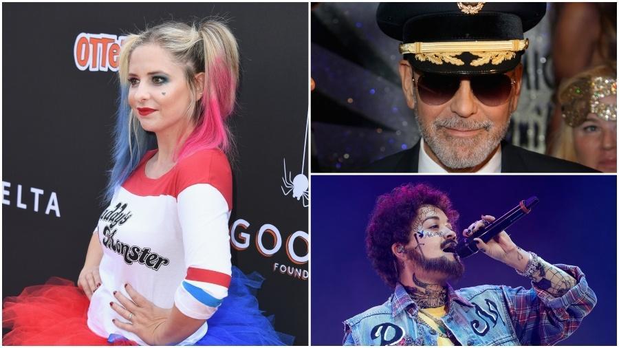 Em sentido horário: Sarah Michelle Gellar, George Clooney e Rita Ora - Getty Images