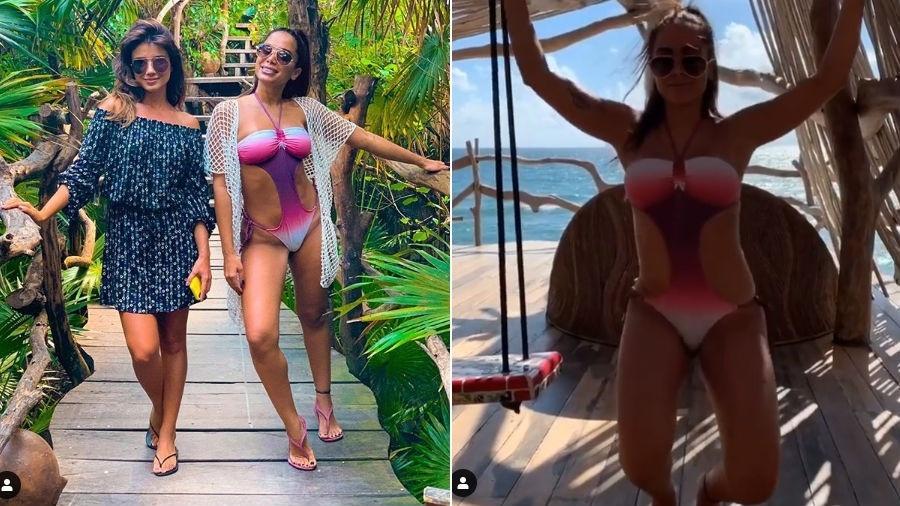 """Anitta encontra com Paula Fernandes em Tulum, no México. A cantora ainda fez a coreografia de """"Terremoto"""" usando um maiô cavado - Reprodução/Instagram"""