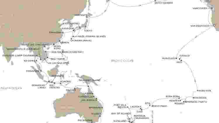 """Viagem """"Elements of the Pacific"""" visita 59 portos em 17 países com 18 pernoites - Divulgação"""