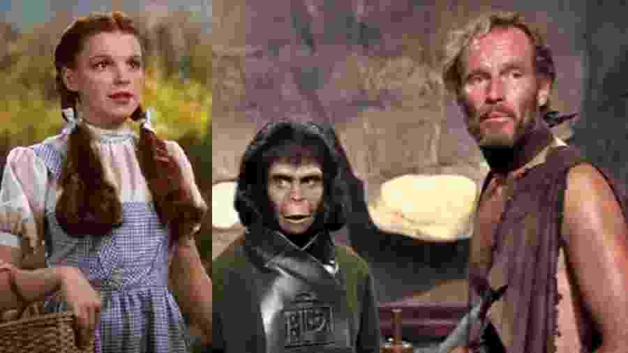 """Cenas de """"O Mágico de Oz"""" e """"Planeta dos Macacos"""" - Reprodução/Montagem"""
