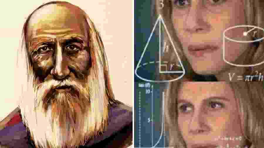 Ilustração atribuída ao matemático Bhaskaracharya e meme da Nazaré Confusa - Reprodução/Twitter