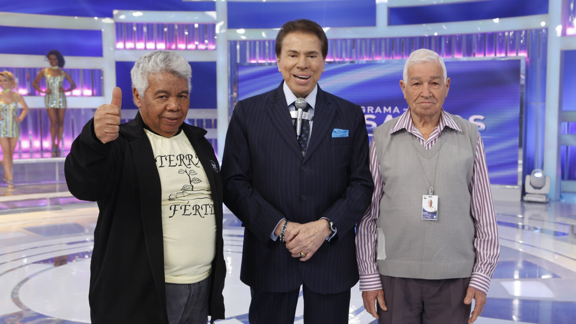 2014 - Silvio Santos com Roque (coordenador de auditórios) e Seu Assis (responsável pelos aviõezinhos)