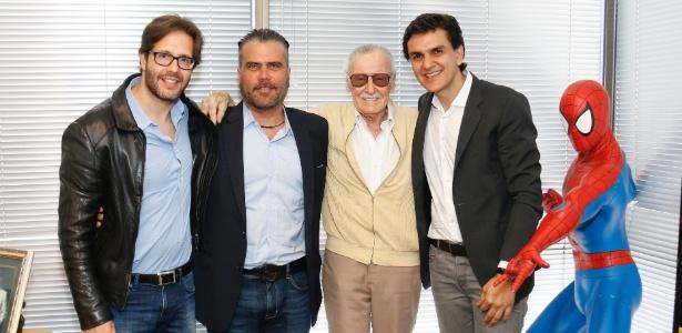 Terry Dougas, Frederico Lapenda, Stan Lee e Gabriel Chalita se reúnem em Los Angeles - Eddie Sakaki/Divulgação