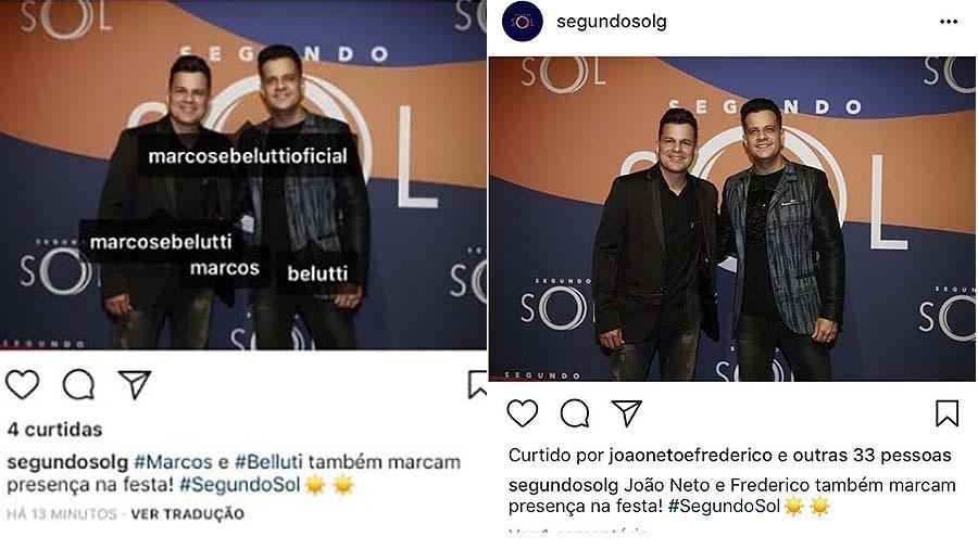 """João Neto e Frederico são confundidos com Marcos e Belutti na festa de """"Segundo Sol"""" - Divulgação"""
