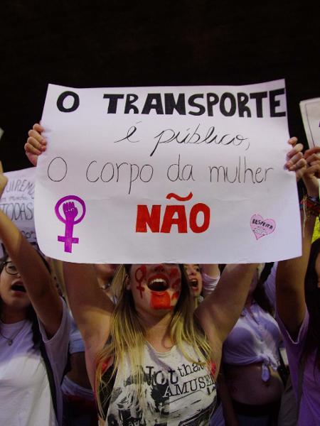 Protesto contra estupro nas estações de Metrô em SP - Roberto Sungi/Futura Press/Folhapress